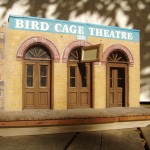 "90 percent complete replica of the Birdcage Theatre. mid fire paper clay, redwood, metal, glass. 17"" x 12"" x 6"".2006-07"