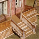 replica-stairway and wood railing